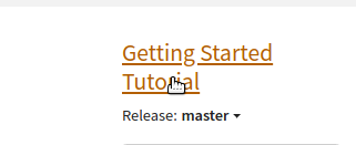 "Go to start page of ""Getting Started Tutorial"""