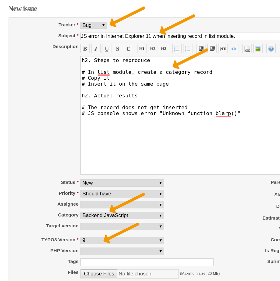 Report an Issue — TYPO3 Contribution Guide - Core