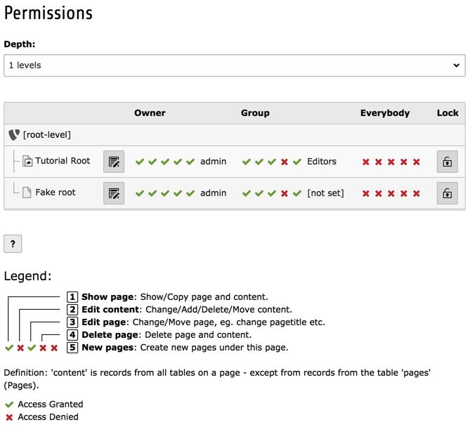 Access Control options — Inside TYPO3 CMS 8 7 documentation