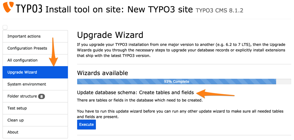 Upgrade table/field definitions — Inside TYPO3 CMS 8 7 documentation