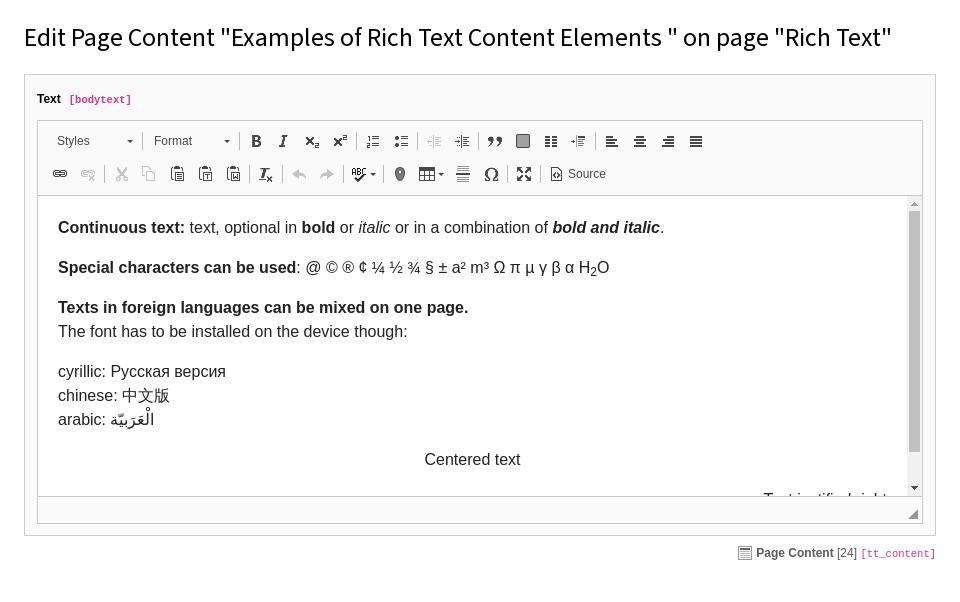 The Rich Text Editor — Editors Tutorial latest (8 7) documentation