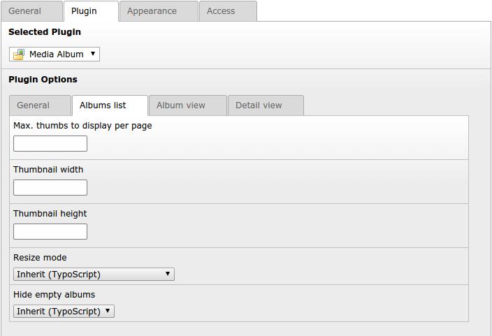 "Tab ""Album list"" ..."