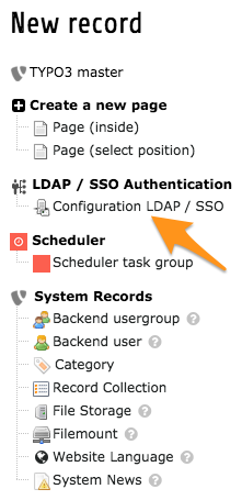 "Creating a record ""Configuration LDAP / SSO"""