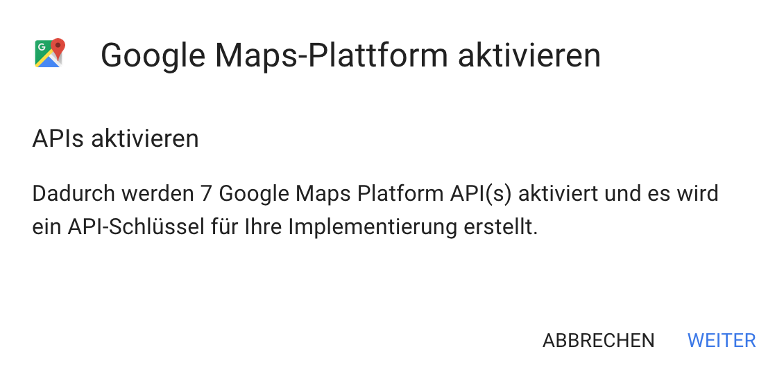 Google Maps Platform activate - Activated APIs