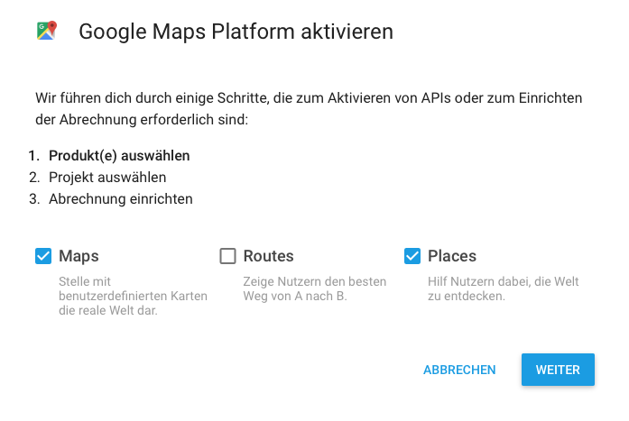 Google Maps Platform Wizard - Pick product