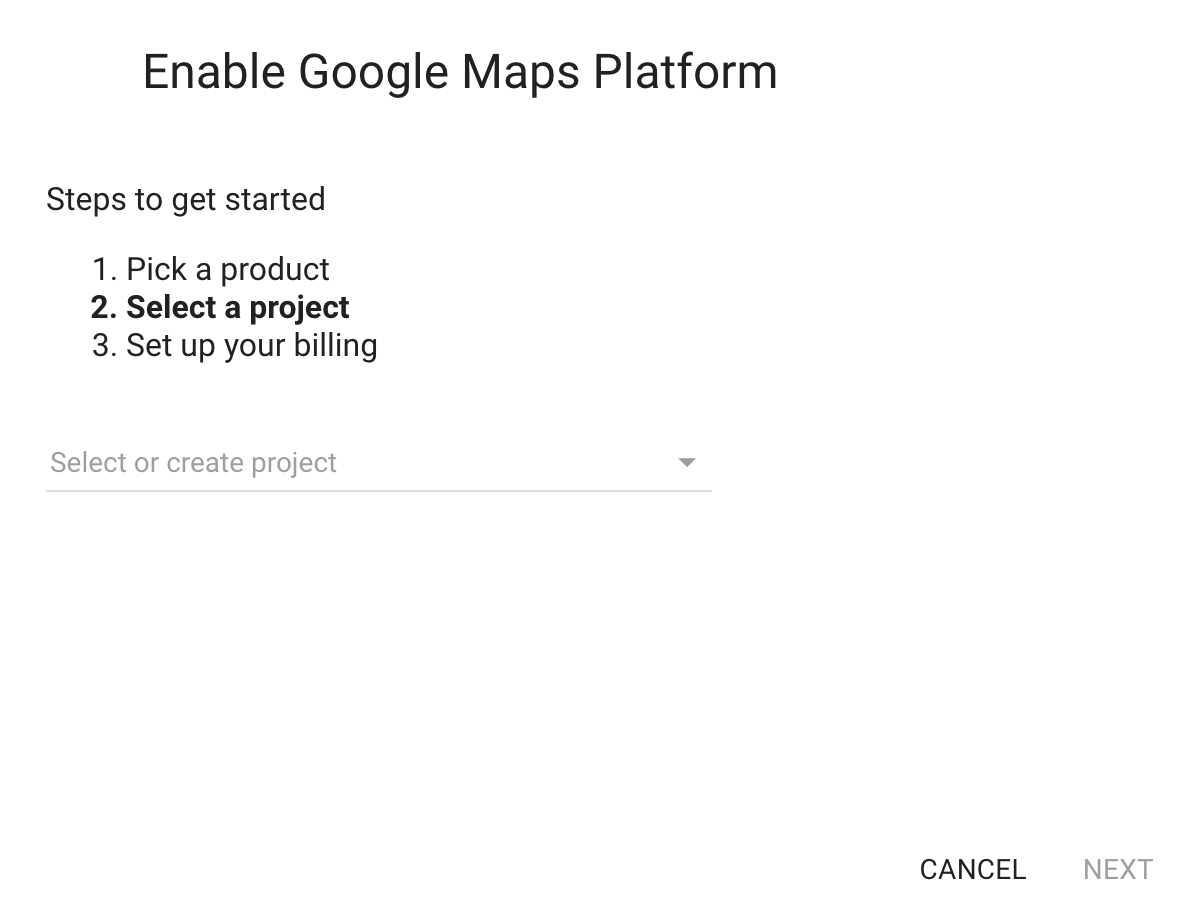 Google Maps Platform Wizard - Select a project