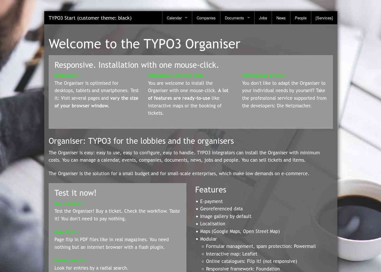 Start TYPO3 Responsive +Customer: theme black