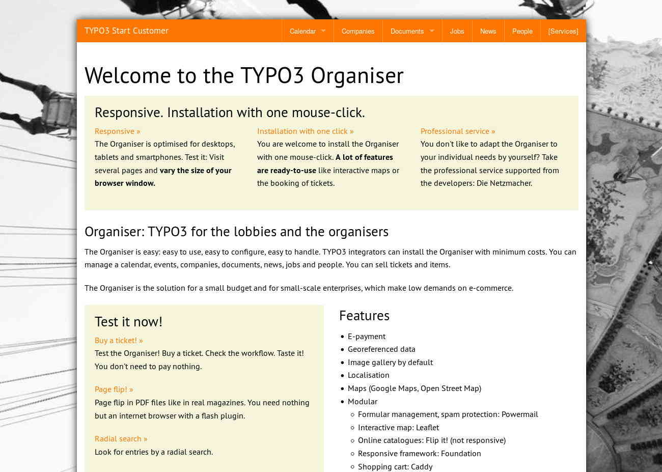 Start TYPO3 Responsive +Customer: default (without any theme)