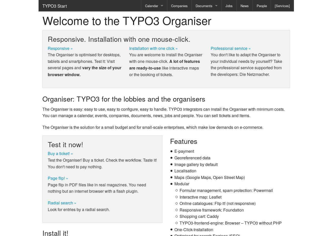 Start TYPO3 Responsive: without the +Customer extension