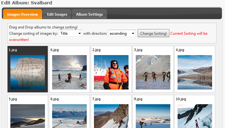 There is a administration view that lets you easily manipulate your images in your albums. You can drag and drop images for sorting, change titles and ...